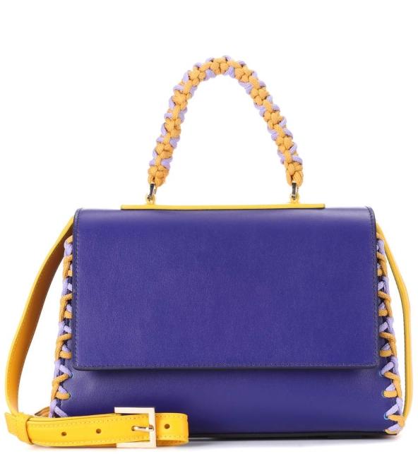 ee34c6319af Чанта от естествена кожа в лилаво и жълто